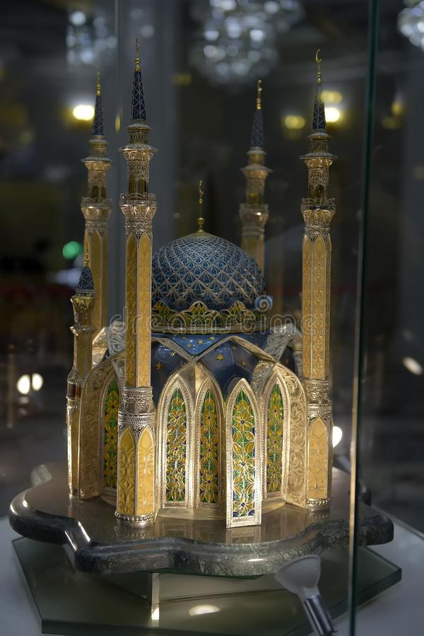 Модель bandmade масштаба внутренности мечети Kul Sharif мечети Kul Sharif на городе Казани Главный Jama Masjid в республике Татар стоковое изображение