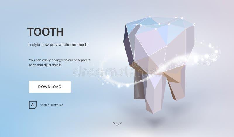 Модель 3d зуба зубоврачебная низкая поли геометрическая Поток металла титана технологии нововведения зубоврачевания будущий иллюстрация штока
