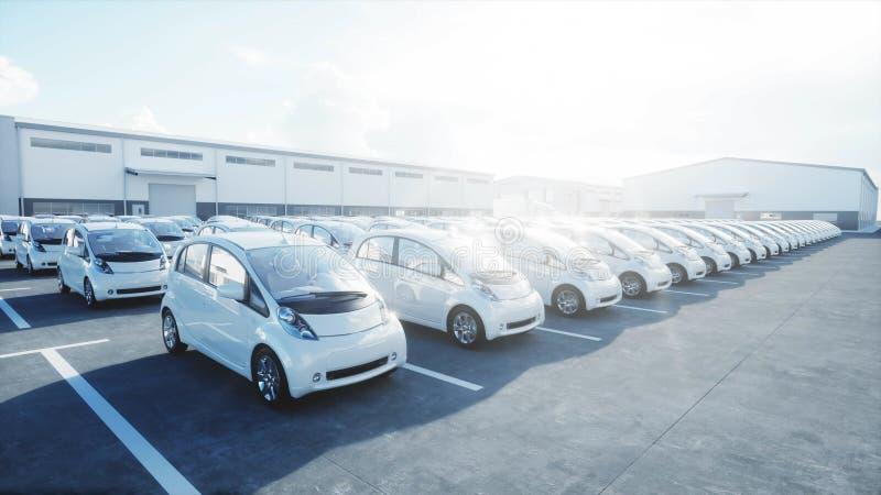 модель 3d электрических новых автомобилей в запасе Автомобили автосалона для продажи изображения экологичности принципиальной схе иллюстрация вектора