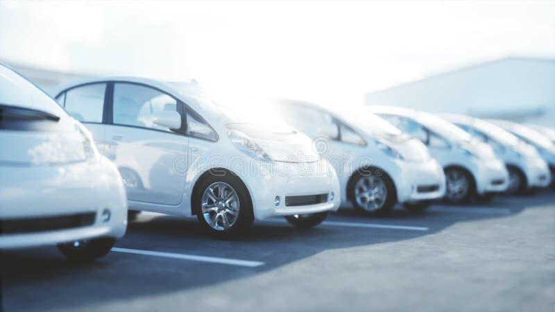 модель 3d электрических новых автомобилей в запасе Автомобили автосалона для продажи изображения экологичности принципиальной схе бесплатная иллюстрация