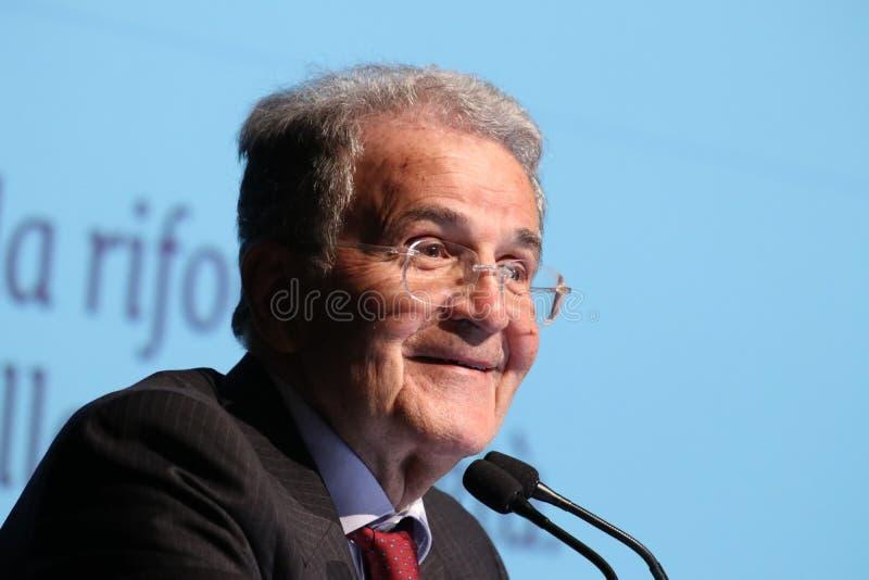 Модена, Италия, апрель 2019 - Romano Prodi, общественное конференция, европейский политик стоковое изображение