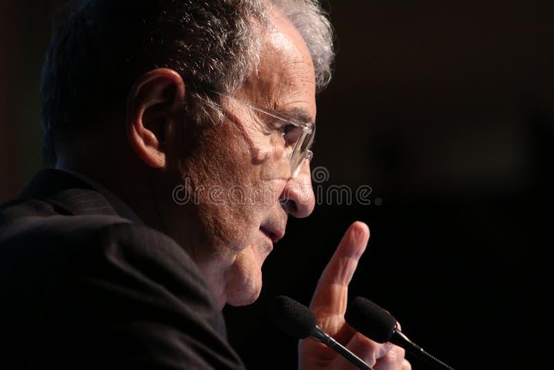 Модена, Италия, апрель 2019 - Romano Prodi, общественное конференция, европейский политик стоковые фото