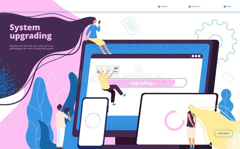 Модернизировать систему Новая технология обслуживания ПК улучшения ноутбука компьютера обновления систем подъема установки програ иллюстрация штока