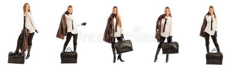 Модная группа в составе изображения с блестящей женщиной стоковая фотография rf