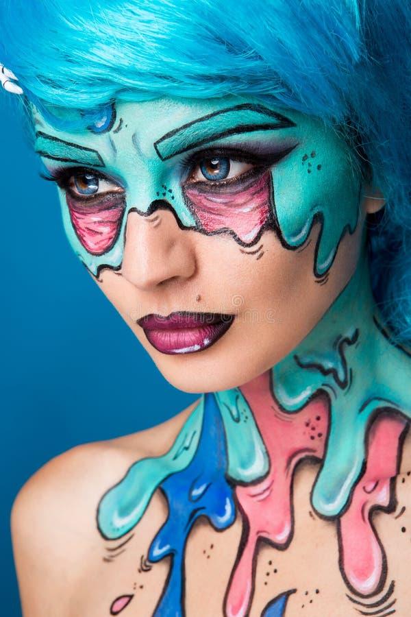 Модная девушка зомби Портрет женщины зомби штыря-вверх проект Тел-картины Состав хеллоуина стоковое фото rf