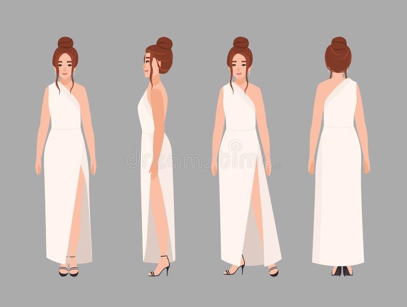 Модная женщина в стильном выравниваясь макси платье с элегантным стилем причесок Очаровывая женский персонаж из мультфильма изоли бесплатная иллюстрация