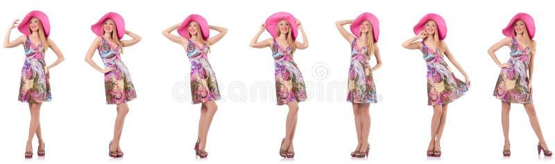 Модная женщина изолированная на белизне стоковое фото rf