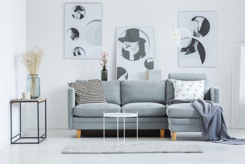 Модная живущая комната с софой стоковое фото