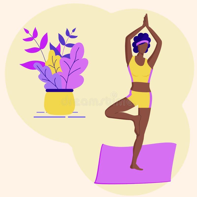 модная концепция фитнес-класса и разнообразия:милая черная девушка, стоящая в позе йоги Стиль рисунков Flat Funky Декорированный иллюстрация вектора