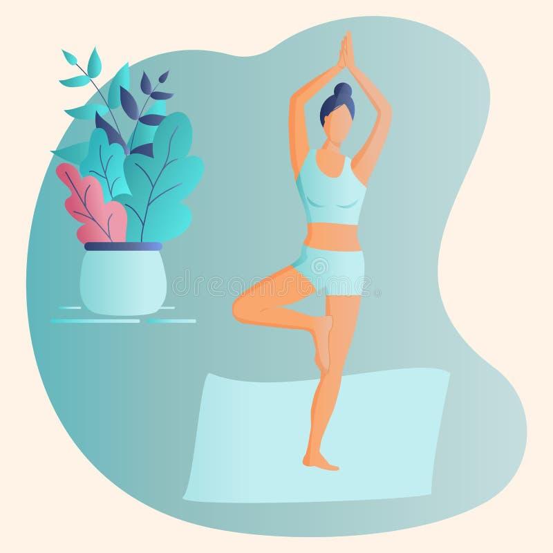 модная концепция фитнес-класса:миленькая девушка, стоящая в позе йоги Стиль рисунков Flat Funky Украшенные красивые листья Вектор бесплатная иллюстрация