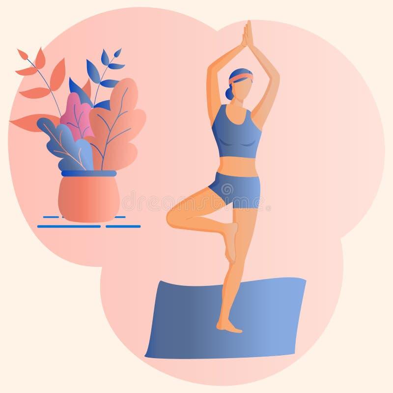 модная концепция фитнес-класса:миленькая девушка, стоящая в позе йоги Стиль рисунков Flat Funky Украшенные красивые листья Вектор иллюстрация вектора