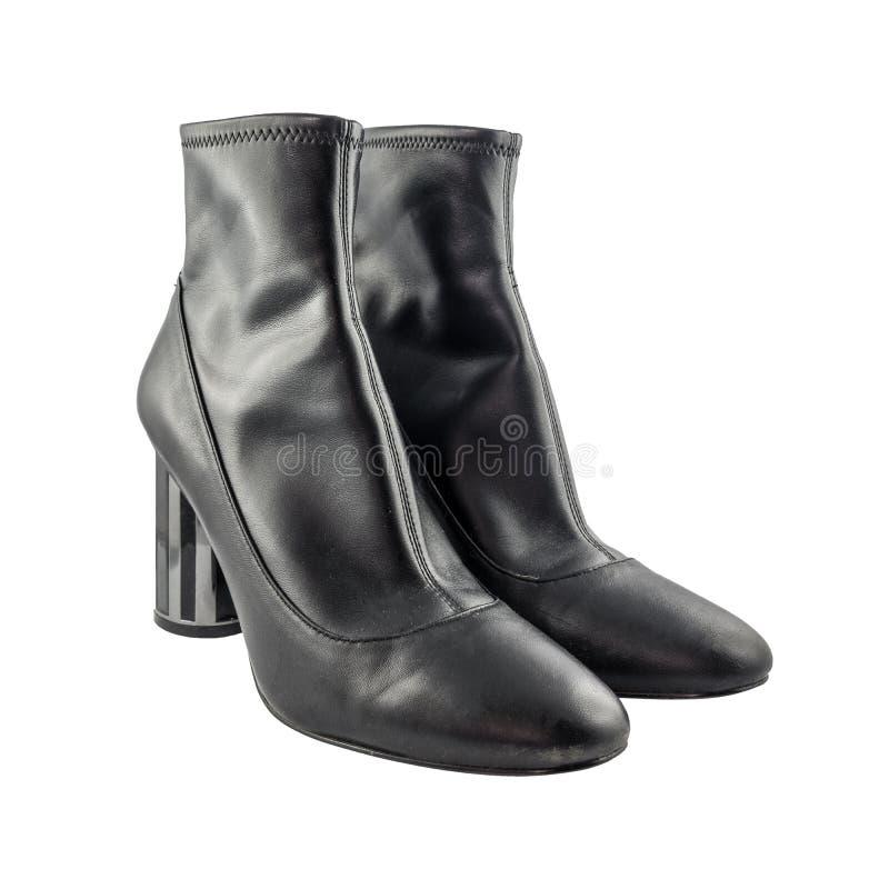 Модные ботинки ` s женщин кожаные изолированные на белой предпосылке стоковое фото