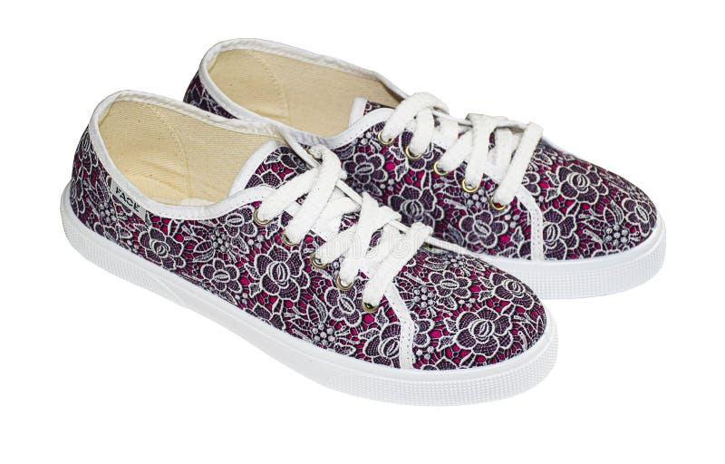 Модные стильные туфли Розовые кроссовки с цветочным узором Спортивные ботинки Снекеры Магазины стоковая фотография