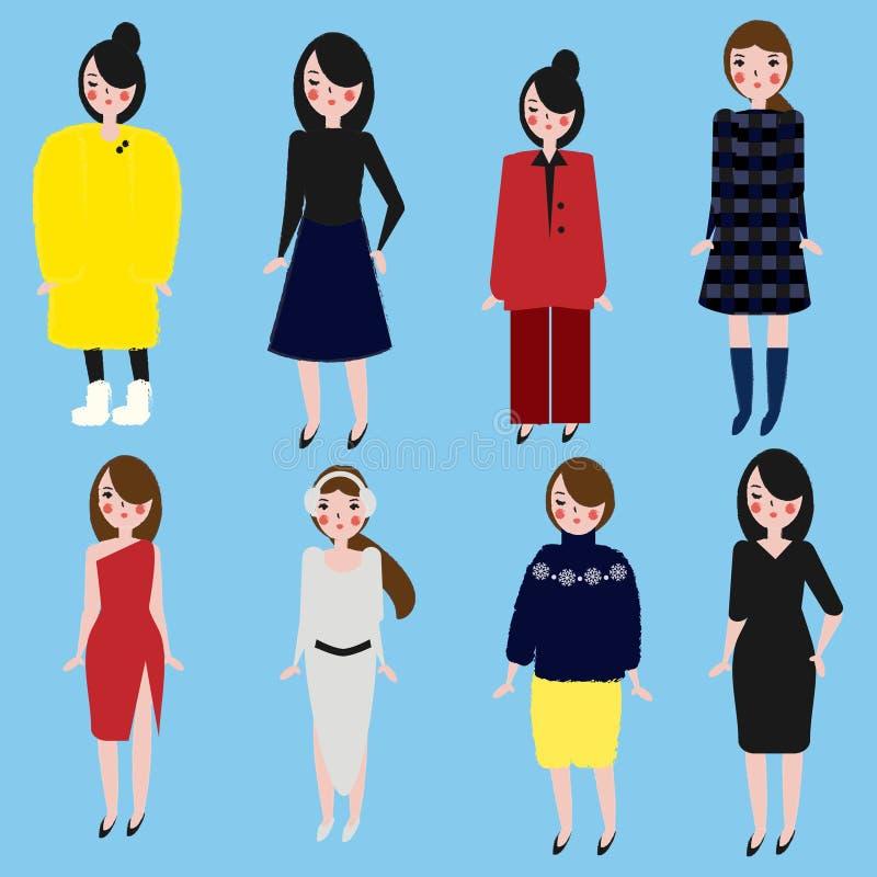 Модные установленные девушки Женщины в различном дресс-коде Женщина в зиме и одеждах офиса Ультрамодной стиль нарисованный рукой бесплатная иллюстрация