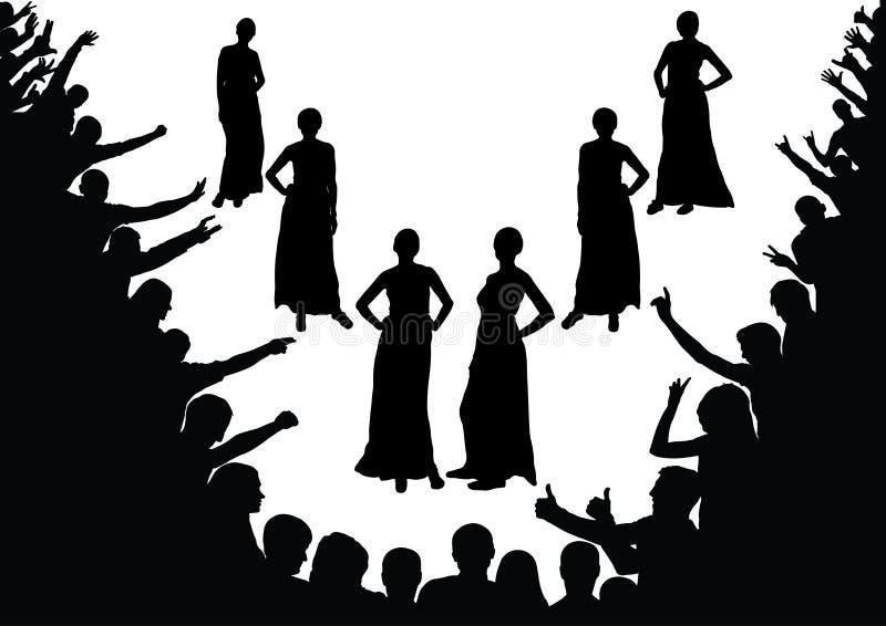 Модный парад, модель конкурса красоты, девушки, вентиляторы, толпа иллюстрация штока