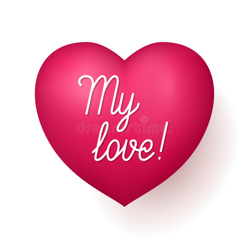 Мое сердце красного цвета влюбленности иллюстрация вектора