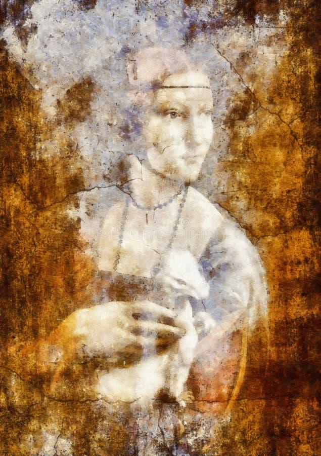 Мое собственное воспроизводство дамы картины с Ermine Леонардо Да Винчи Графическое влияние стоковые фотографии rf