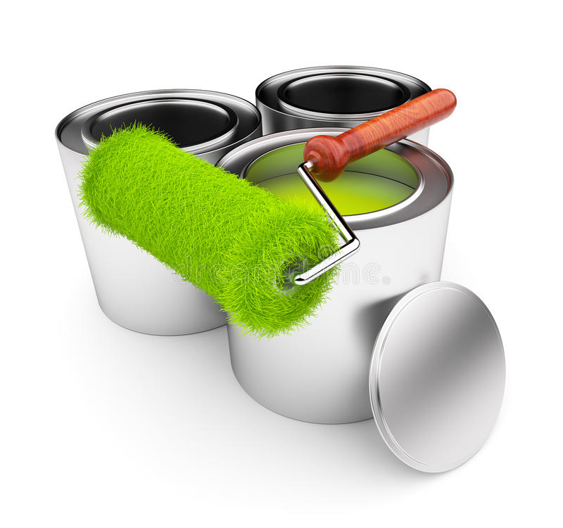 может сталь ролика краски зеленого цвета травы бесплатная иллюстрация
