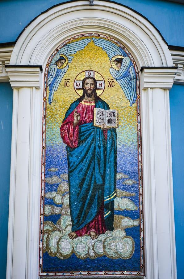 Мозаика Иисуса Христоса на церков стоковое фото