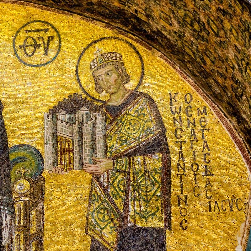 Мозаика императора Константина большой в Hagia Софии, Стамбуле стоковое фото rf