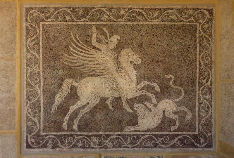 Мозаика на стене в археологическом музее Родоса Греции. стоковые изображения