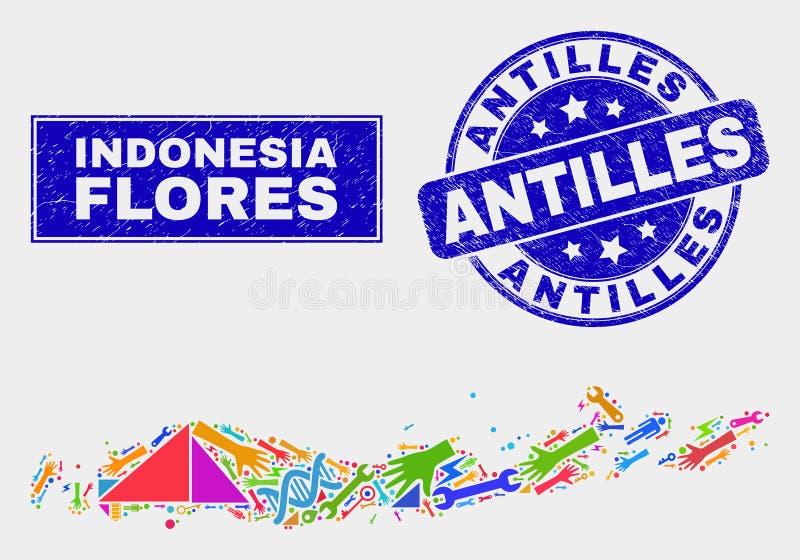 Мозаика оборудует острова Flores карты Индонезии и поцарапанного уплотнения печати Антильских островов иллюстрация вектора