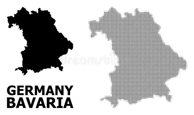 Мозаика полутонового изображения вектора и твердая карта государства Баварии бесплатная иллюстрация
