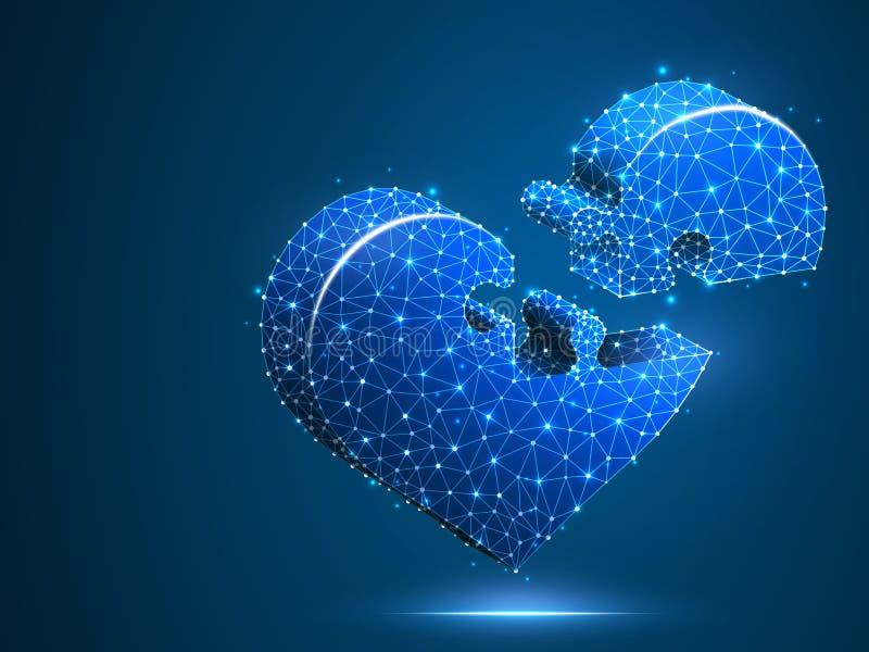 Мозаика сердца Здоровье кардиологии медицины дня Валентайн неоновое помочь поли конспекта низкое, полигональный, вектор wireframe иллюстрация вектора