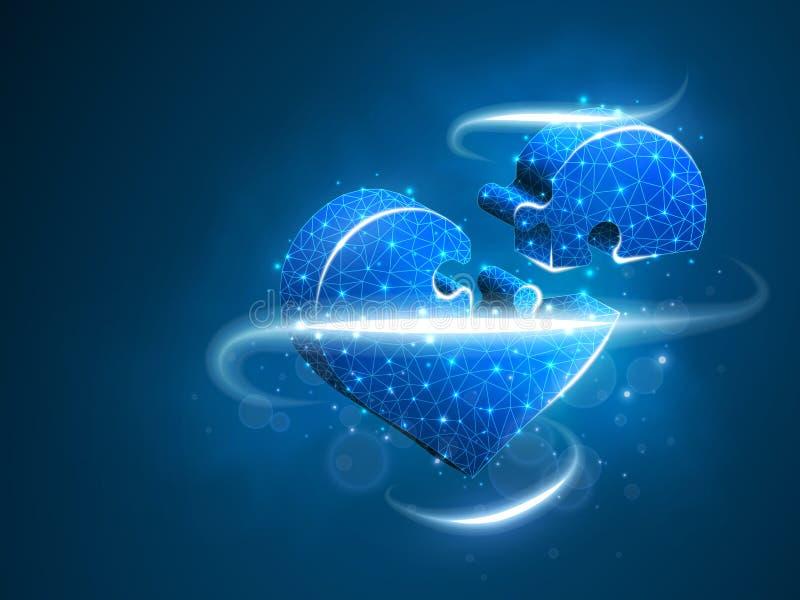 Мозаика сердца Здоровье кардиологии медицины дня Валентайн неоновое помочь поли конспекта низкое, полигональный, вектор wireframe бесплатная иллюстрация