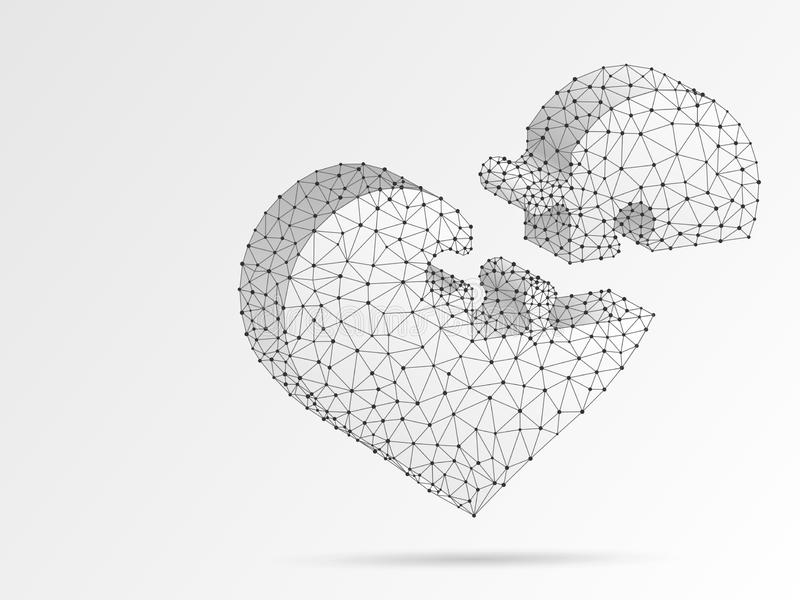 Мозаика сердца Поли конспекта кардиологии медицины стиля Origami дня Валентайн низкое, полигональный, вектор wireframe бесплатная иллюстрация