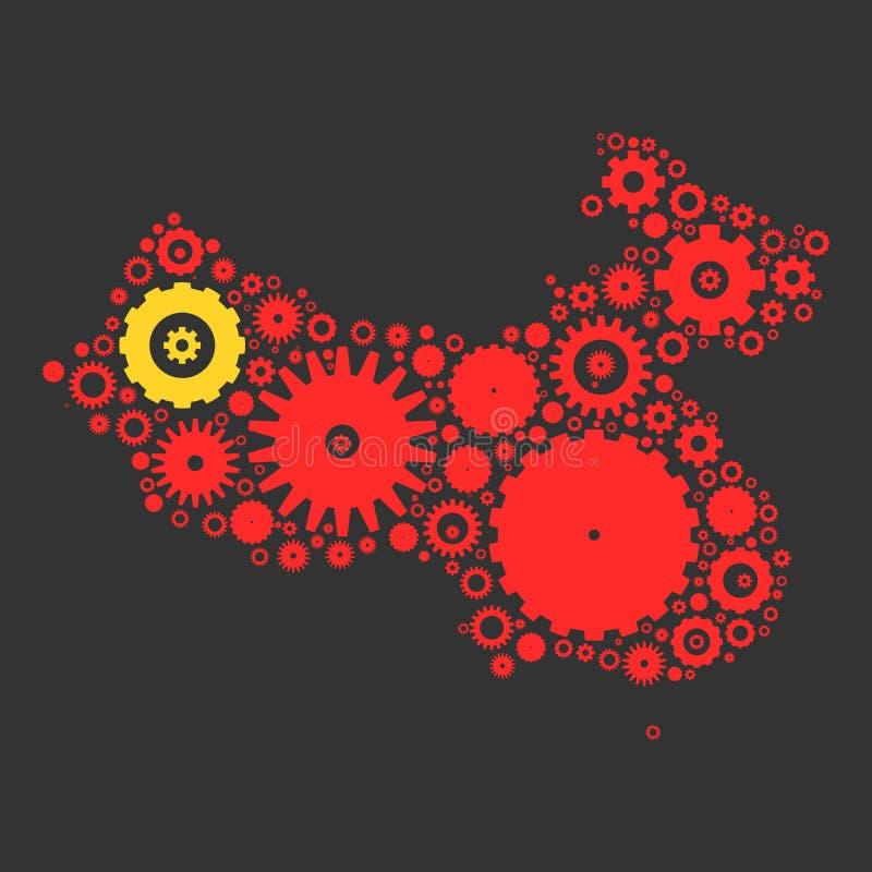 Мозаика силуэта карты Китая cogs и шестерней бесплатная иллюстрация