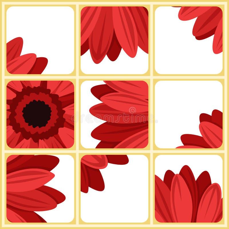Мозаика с красным gerbera. иллюстрация штока