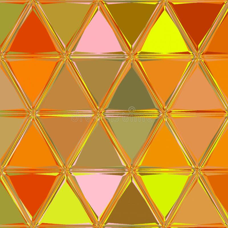 Мозаика треугольников в оранжевых сладких цветах осени иллюстрация штока