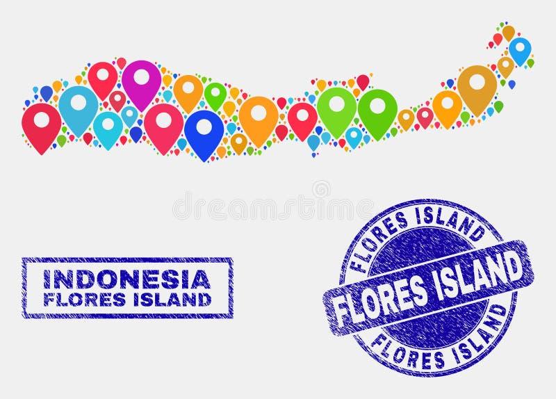 Мозаика указателей карты острова Flores уплотнений карты и Grunge Индонезии иллюстрация штока
