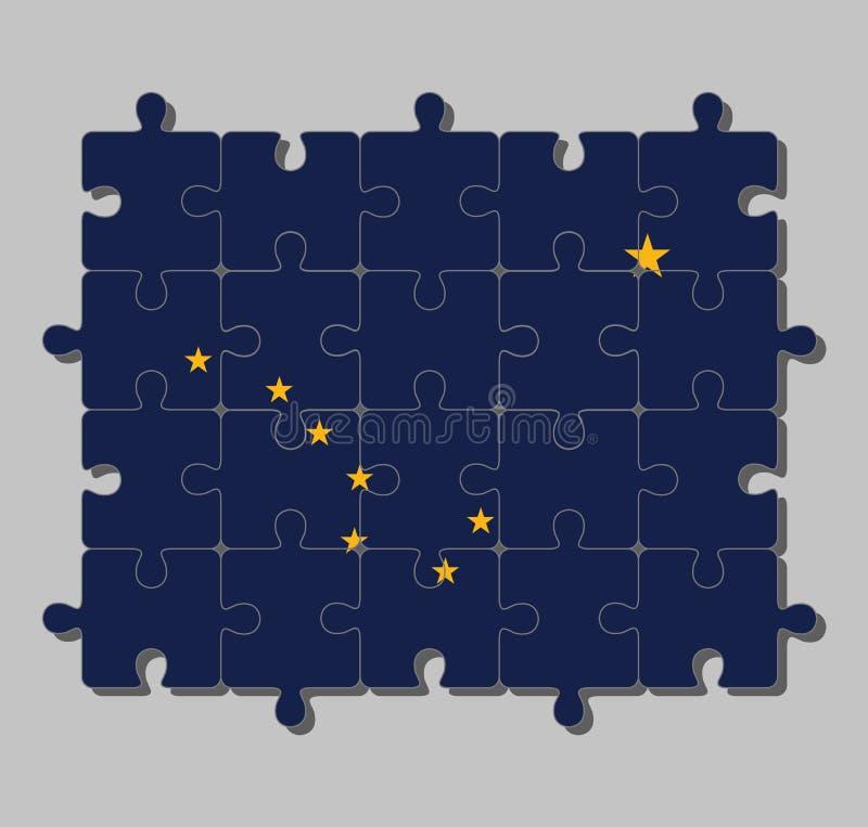 """Мозаика флага Аляски в 8 звездах золота, в форме """"Большой Медведицы """" бесплатная иллюстрация"""