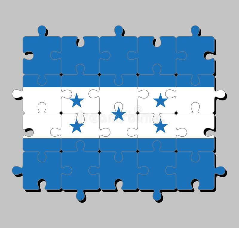 Мозаика флага Гондураса в горизонтальном triband голубого и белого с 5 голубыми звездами иллюстрация штока
