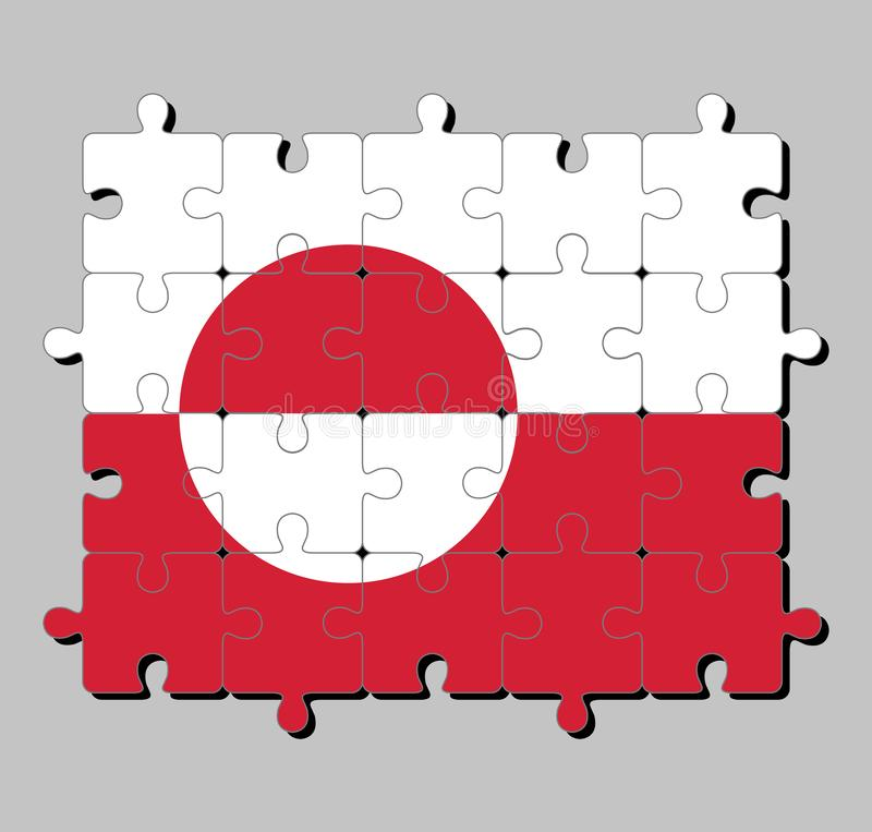 Мозаика флага Гренландии в белом и красном цвете с counterchanged диском немножко нецентральным к подъему бесплатная иллюстрация