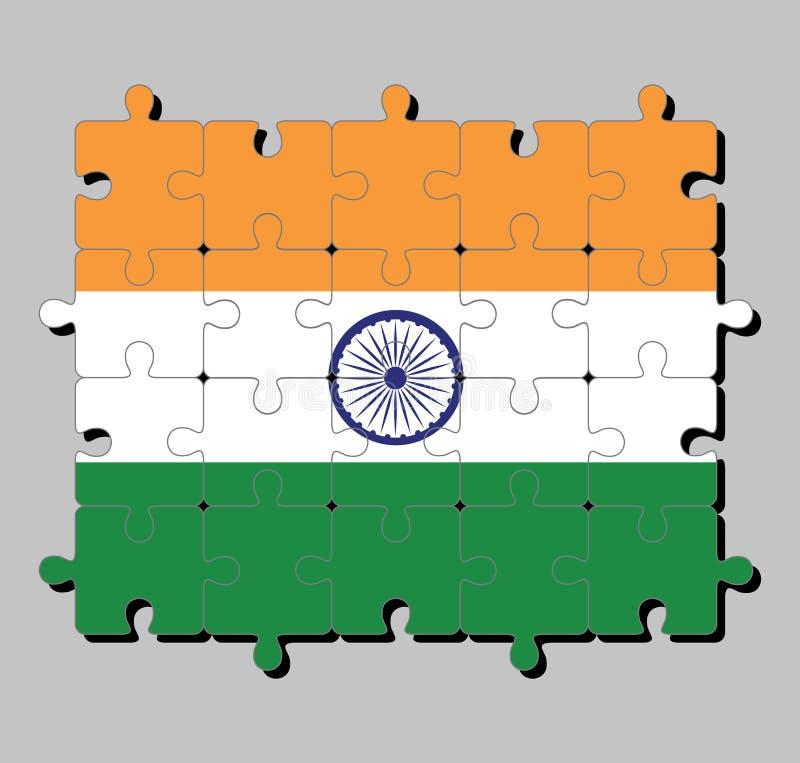 Мозаика флага Индии в tricolor шафрана Индии, оранжевой белизны и зеленого цвета с колесом Ashoka Chakra иллюстрация вектора