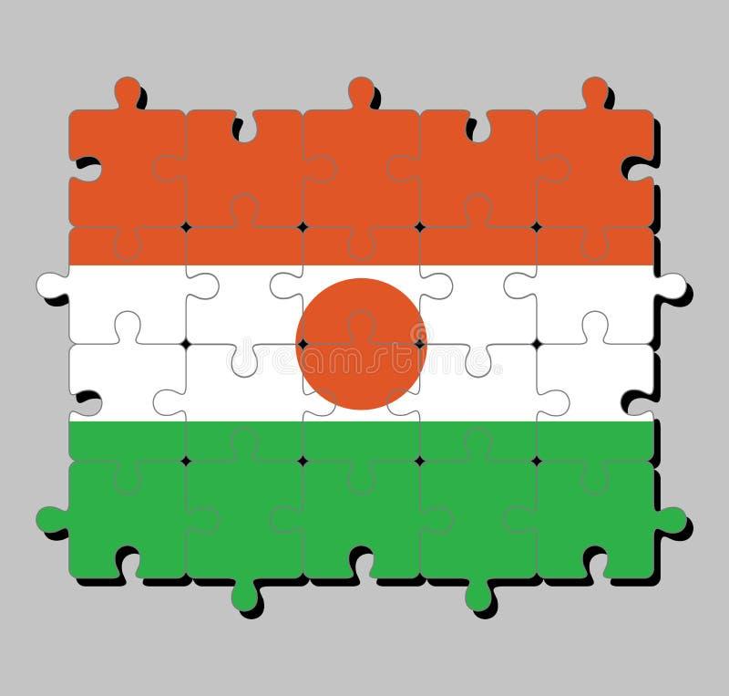 Мозаика флага Нигера в оранжевые белом и зеленый; порученный с оранжевым кругом в центре иллюстрация штока