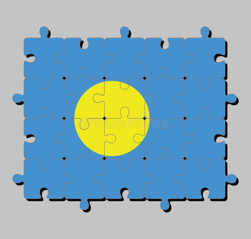 Мозаика флага Палау в светлом - голубое поле с большим желтым диском перенесло немножко к подъем-стороне центра иллюстрация вектора
