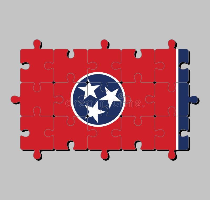 Мозаика флага Теннесси в голубом круге с 3 белыми звездами на красное прямоугольном, с прокладкой белого и голубого иллюстрация штока