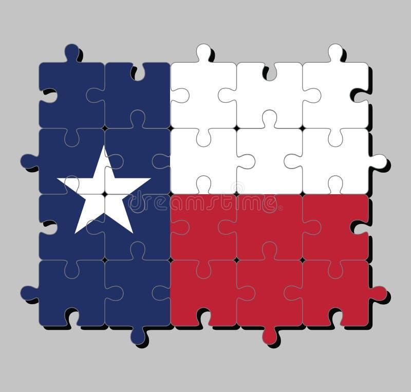 Мозаика флага Техаса в сини содержа одиночную белую звезду иллюстрация штока
