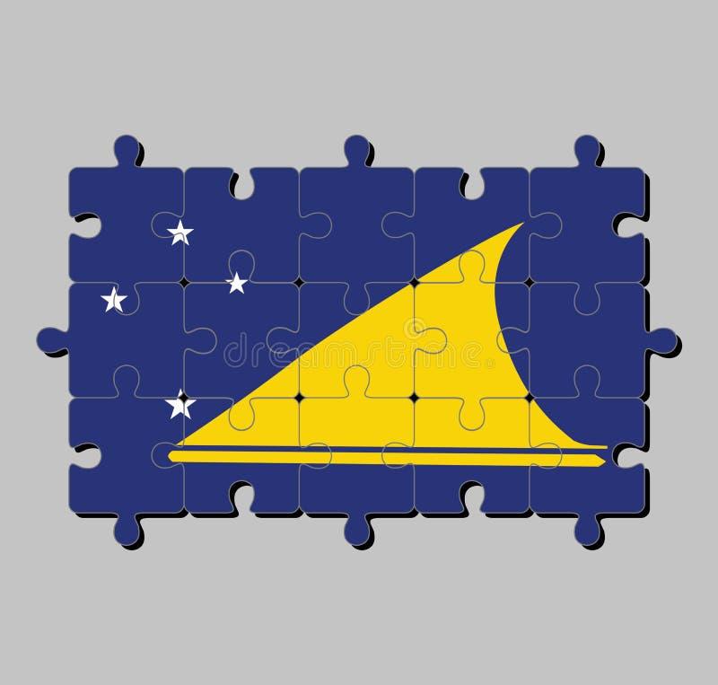 Мозаика флага Токелау в светлом - голубое поле с большим желтым диском перенесло немножко к подъем-стороне центра иллюстрация вектора