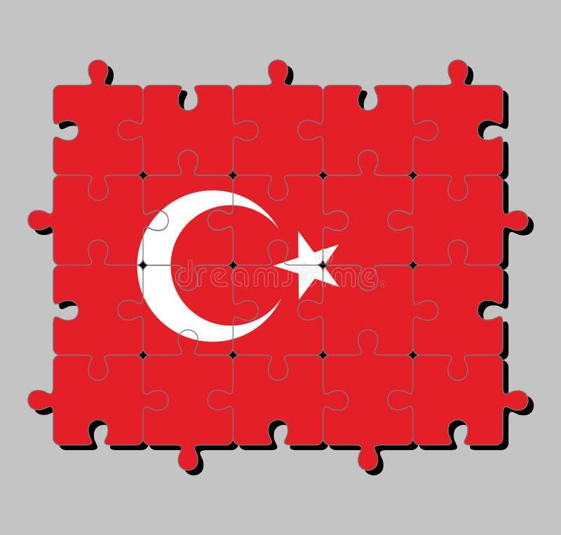 Мозаика флага Турции в красном поле с белыми звездой и полумесяцем немножко выведенными центра иллюстрация штока