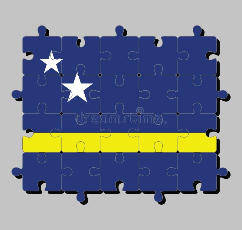 Мозаика флага Curacao в голубом поле с горизонтальной желтой нашивкой немножко под midline и 2 белыми звездами иллюстрация штока