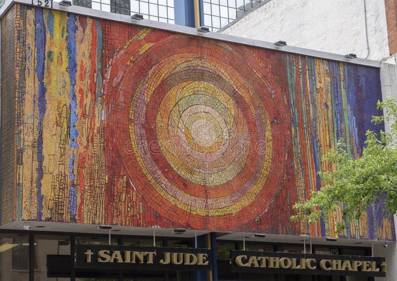 Мозаика часовни Jude Святого Gyorgy Kepes в городском Даллас, Техасе стоковые изображения
