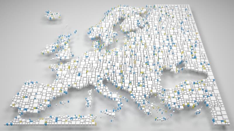 мозаика 3D карты Европы иллюстрация вектора