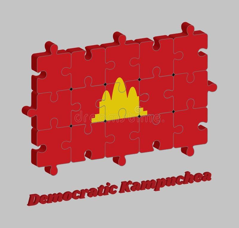 мозаика 3D флага Democratic Kampuchea ссылается на Камбоджу между 1975 и 1979 иллюстрация штока