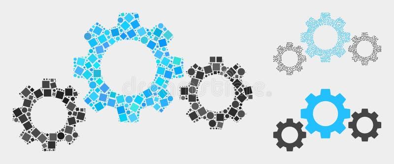 Мозаики значка передачи шестерни квадратов и кругов бесплатная иллюстрация
