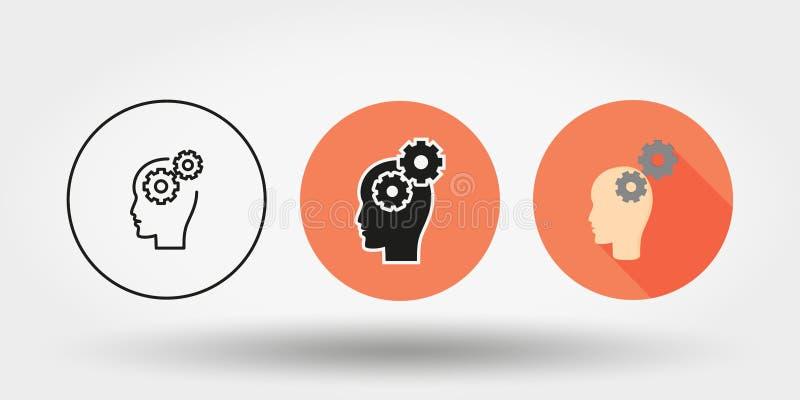 Мозговая деятельность Комплект икона силуэт Editable тонкая линия плоско вектор бесплатная иллюстрация